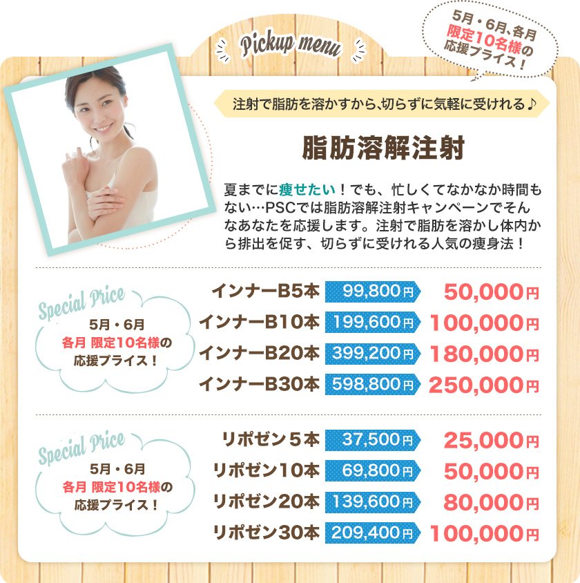 脂肪溶解注射(限定10名/月) 大阪梅田のプライベートスキンクリニックの美容おすすめメニュー