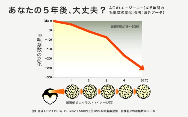 AGAの5年間の毛髪数の変化