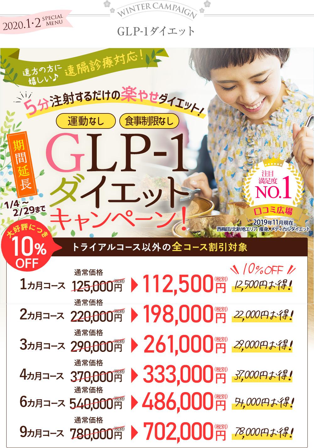 大阪梅田のプライベートスキンクリニック GLP-1ダイエットキャンペーン