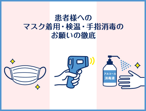 PSCのコロナ対策③患者様へのマスク着用、検温、手指消毒のお願いの徹底