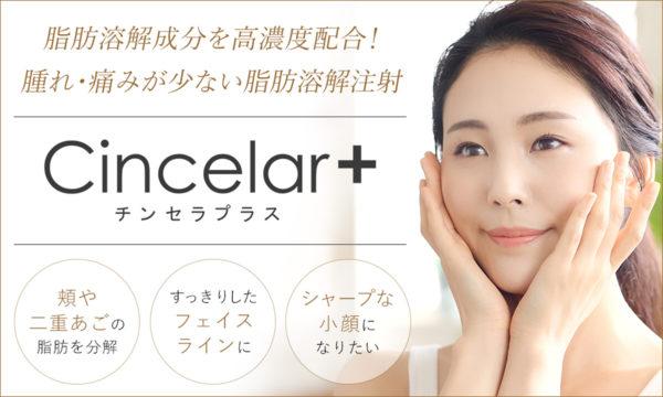チンセラプラス(Cincelar+)は、頬や二重あごの脂肪を分解、すっきりしたフェイスライン、シャープな小顔になりたいなどの悩みにオススメの脂肪溶解成分を高濃度配合!腫れ・痛みが少ない脂肪溶解注射です。